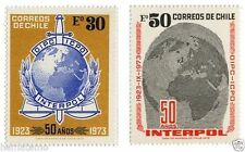 Chile 1973 #830-831 50 Años Interpol Police MNH