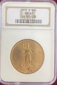 1915 S GOLD $20 DOLLAR SAINT GAUDENS DOUBLE EAGLE COIN NGC MS63