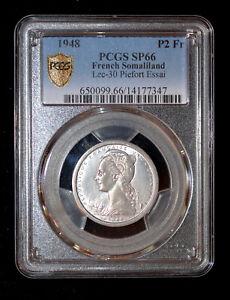 PCGS SP66 1948 French Somaliland, 2 Francs, Paris, Piedfort, ESSAI K20001