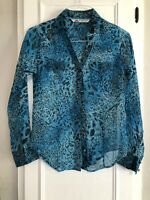 Cumberland Outfitters For Her-Sheer Blue Animal Print Western Long Sleeve Top- S