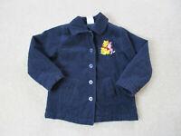 VINTAGE Disney Jacket Girls Small Blue Winnie The Pooh Piglet Coat Cartoon Kids