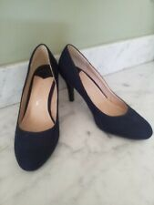 Dorothy Perkins Navy Suede Wide Fit Court Shoes Size 6