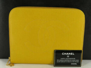 CHANEL CC YELLOW CAVIAR SKIN CLUTCH BAG POUCH EY633