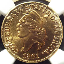 Bashlow Restrike 1861 Confederate Cent in Goldine, MS69 NGC, CSA Civil War Token