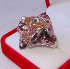 NATURAL COLOMBIAN  EMERALD & GENUINE RUBY RING SZ. 8 ~ 2 TONE GOLD/925 SILVER