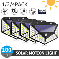 1-2PCS  100 LED Solar Powere Motion Sensor Light Waterproof Yard Security Lamp