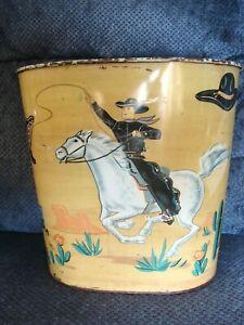 Vtg Cowboy Cowgirl Western Metal Trash Can Wastebasket Hopalong Cassidy