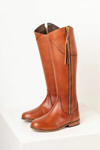 Rydale Spanish Riding Boots Leather Full Zip Slim Regular Fit Knee High Boot Tan