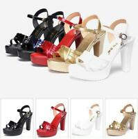 Women's Platform Block Heels Sandals Ankle Strap Patent Leather Slingback Shoes