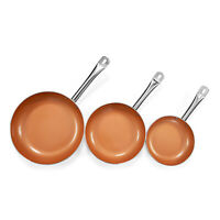 Healthy Non Stick Copper Ceramic 3pc Induction Bottom Frying Pan Skillet Set