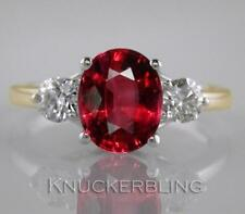Natural Ruby Yellow Gold Three-Stone Fine Rings