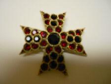 """Vintage Signed """"Lisner"""" RED RHINESTONE Maltese Cross Brooch Pin EC Orig. Owner"""
