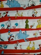 Dr seuss fabric red stripe cat in the hat fat quarter free postage