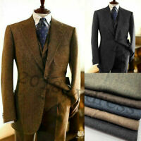 Men Brown/Gray Wool Herringbone Suits Vintage Formal Business Wedding Tuxedos