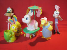Lot of vintage Easter toys, wind-up bunny rabbit & goose, rabbit candy & more