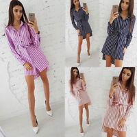 Pretty Women Fall Long Sleeve Striped Knee Dress Ladies Beach Party Dresses AU