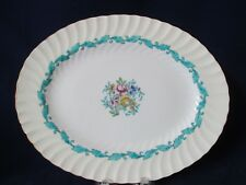 "Minton Ardmore Ivory Rim Turquoise Floral Swirl Bone China 12"" Platter 1939-74"