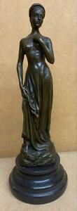 Classical Bronze Lady Sculpture - Marble Base - Height 28cm