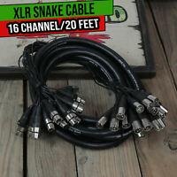 XLR Snake Cable - 16 Channel 20ft Mic Cord DJ Mixer Interface Hub Female to Male