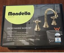 Brand New - Mondella Maestro Cross Handle Basin Tap Set Gold Plated