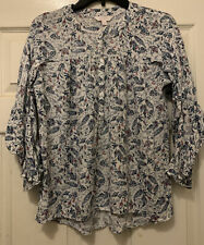 Lauren Contad Tunic Blouse Ruffle Sleeves Back Small White Blue Paisley