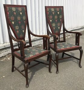 Excellent Pair of circa 1920s Antique Arts And Crafts Gothic High Back Chairs