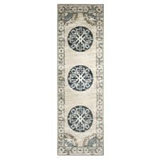"Superior Shiloh  2'.6"" x 8' Area Runner Medallion Design No Slip Backing"