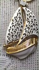 Vintage Sailboat 24 Necklace J.J.Jonette Jewelry White Enamel on Gold Tone 70's