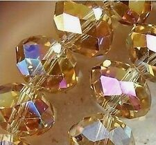 Shiny Beads Rondelle Bicone Glass Crystal Jewelley 4MM/74pcs AB Yellow 2437