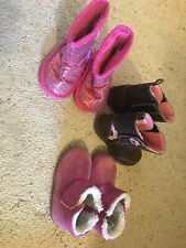 Toddler Girls Boots Size 3-4 Pink And Brown - Lot Of 3