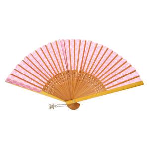 CELINE Macadam Logos Folding Fan Pink Brown Authentic 30438