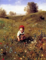 Excellent art Oil painting ludwig knaus - spring time little girl in landscape