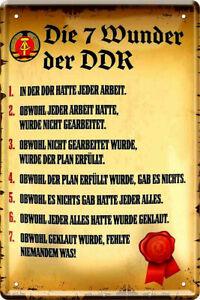 Blechschild 20x30 Ostalgie Spruch Die 7 Wunder der DDR Bar Kneipe Geschenk