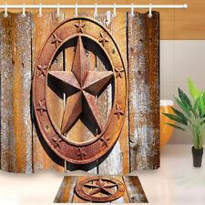 "Retro Metal Western Texas Star Waterproof Fabric Bathroom Shower Curtain 60/72"""