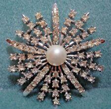 Vintage Judy Lee Ice Rhinestone Starburst Flower Brooch Pin Bridal Prom Evening