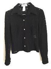 DOLCE & GABBANA Vintage Black Floral Mesh Button Up Jacket Size 38