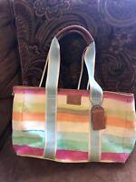 Authentic Coach Hampton Watercolor Satchel Stripe Handbag Tote F10067