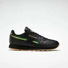 Reebok Classic Leather Men's Sneakers Shoes Black / Green / Yellow Brand New
