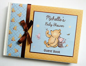 Classic Winnie the Pooh boy baby shower guest book, Winnie the Pooh album, gift