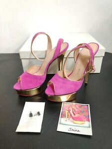 RARE! Brand New CHARLOTTE OLYMPIA TRINA Heels Size 38.5 Pink Gold $825 MSRP
