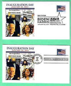 BIDEN-HARRIS 2021 INAUGURATION COVER SET OF 2 , PANDA CACHET - FLAG STAMP