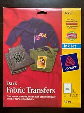 Avery 3279 Dark Fabric Iron On Transfers For Ink Jet Printers, 5 Sheets - NEW!