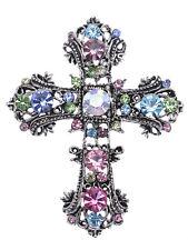 Fashion Easter Pastel Crystal Rhinestone Flourish Flower Cross Pin Brooch Gift