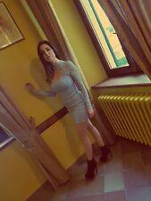 Vestito Donna Abito Donna con particolari e maniche in pizzo colore celeste