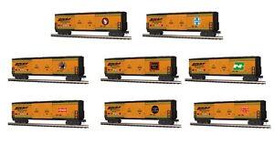 MTH 30-70122 BNSF 25th ANNIVERSARY 8 CAR 50' BOX CAR SET RAILKING O GA 3 RAIL
