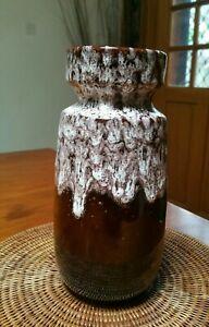 West Germany vase 242-22 retro 70s fat lava drip glaze brown white glaze