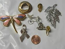 BEAUTIFUL LOT 8pc LEAVES,HIPPO,BYCICLE,$ SIGN,WISHING BONE,DRAGON FLY,CANCER PIN