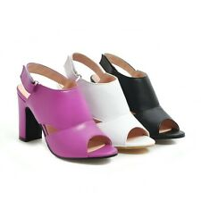Ladies Synthetic Leather Shoes High Block Heels Strappy Peep Toes Pumps Sandals
