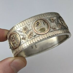 Antique Sterling Silver & Applied Gold Bangle Aesthetic Movement