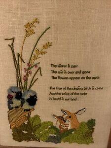 Vintage 70s Needlepoint Crewl Art Wall Hanging pillow cover 11x 14 Flower & Bird